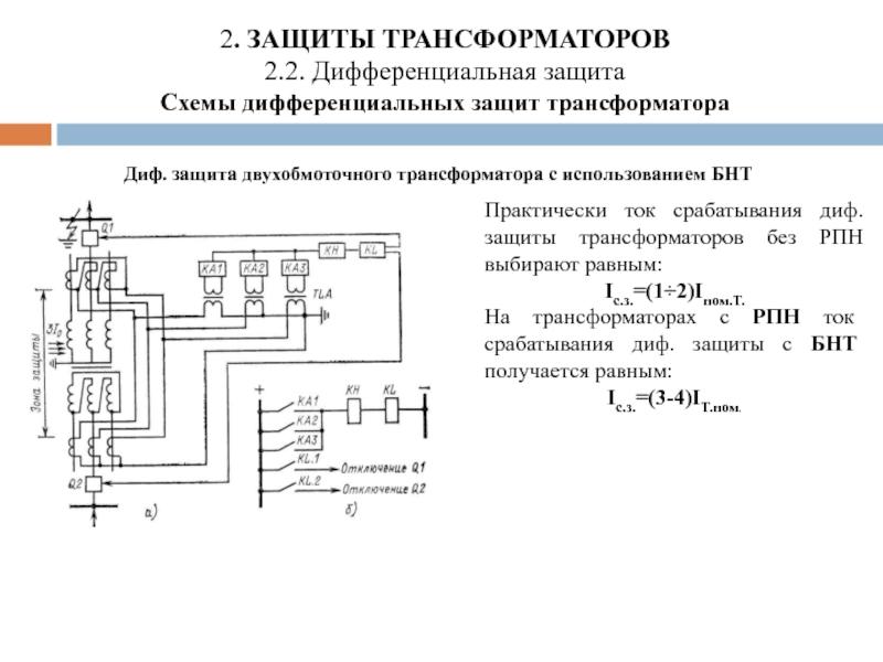 Основные защиты силового трансформатора