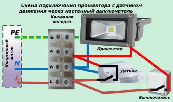 Датчик движения в прожекторе