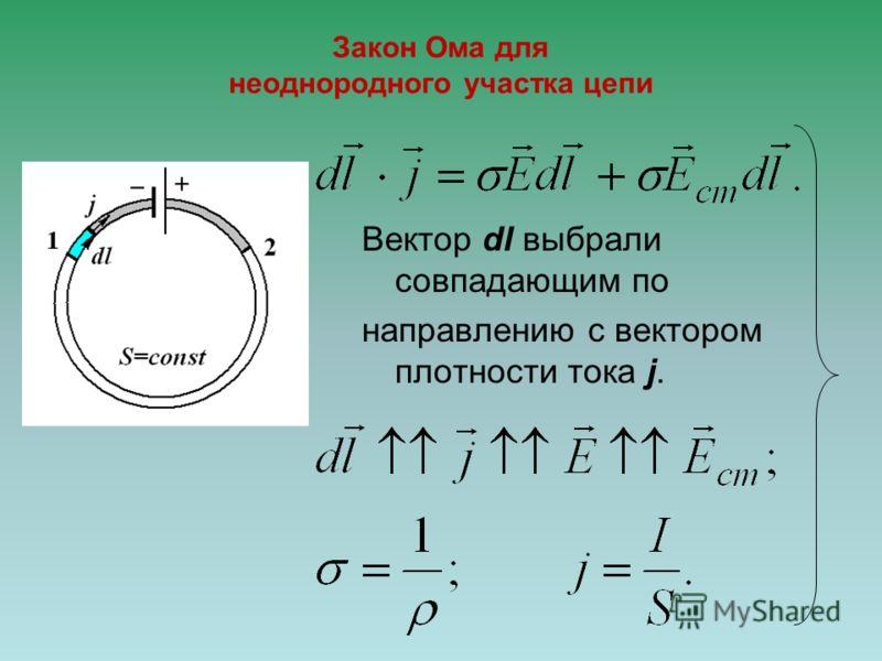 Закон ома для однородного участка цепи