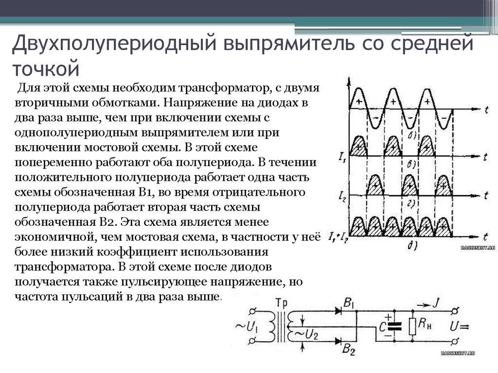 Принцип работы однофазного двухполупериодного выпрямителя со средней точкой