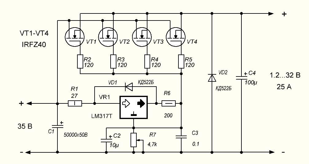 Схема стабилизатора тока на полевом транзисторе