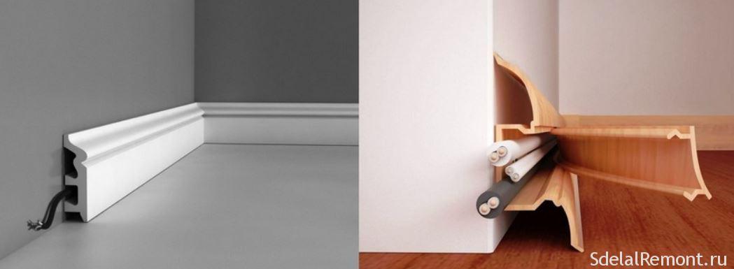 Виды и прокладка напольных плинтусов со встроенным кабельным каналом