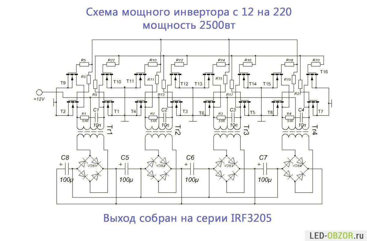 Виды преобразователей напряжения с 220 на 12 вольт