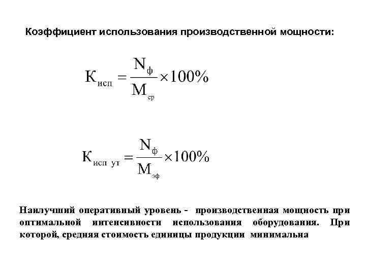 Коэффициент использования производственных мощностей