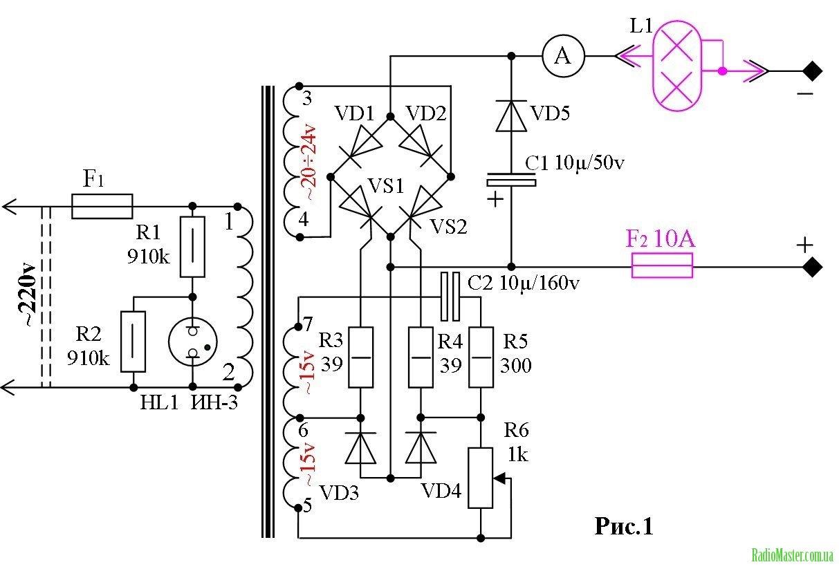 Схема простого зарядного для акб с автовыключением