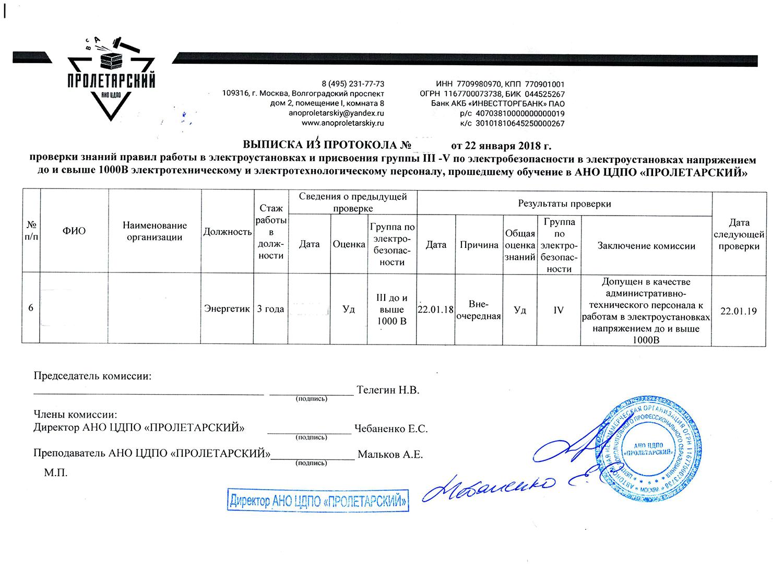 Образец протокола проверки знаний по электробезопасности