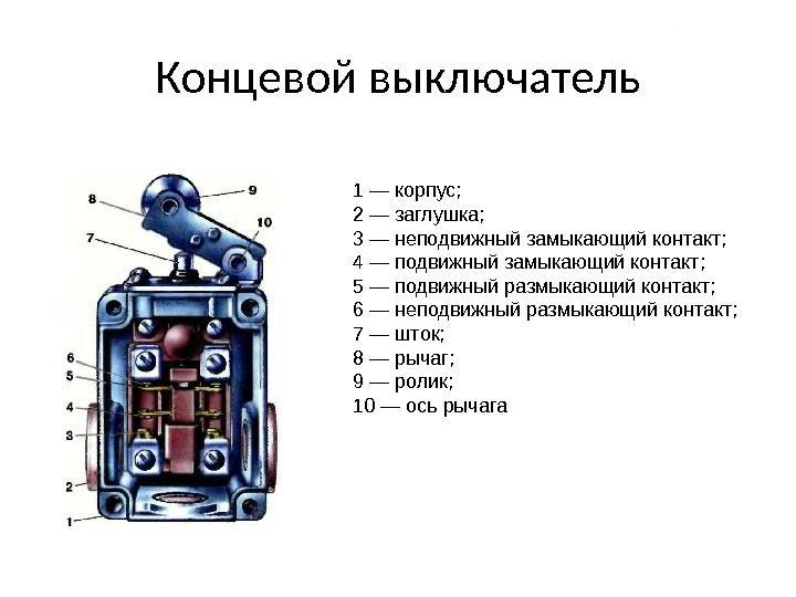 Особенности применения и устройства концевых выключателей