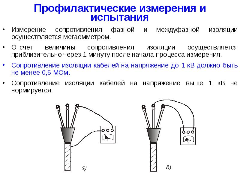 Проверка кабеля мегаомметром