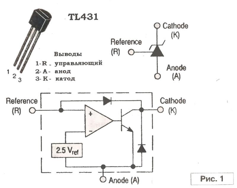 Характеристики и схема включения tl431