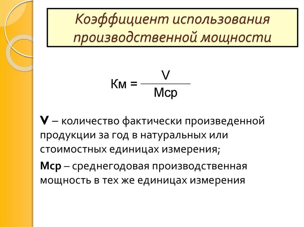 Коэффициент использования производственной мощности