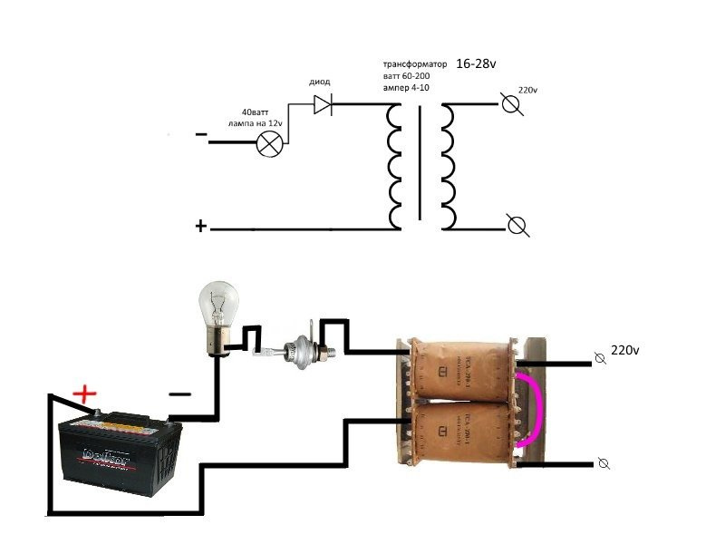 Схема зарядного устройства для восстановления акб реверсивным током