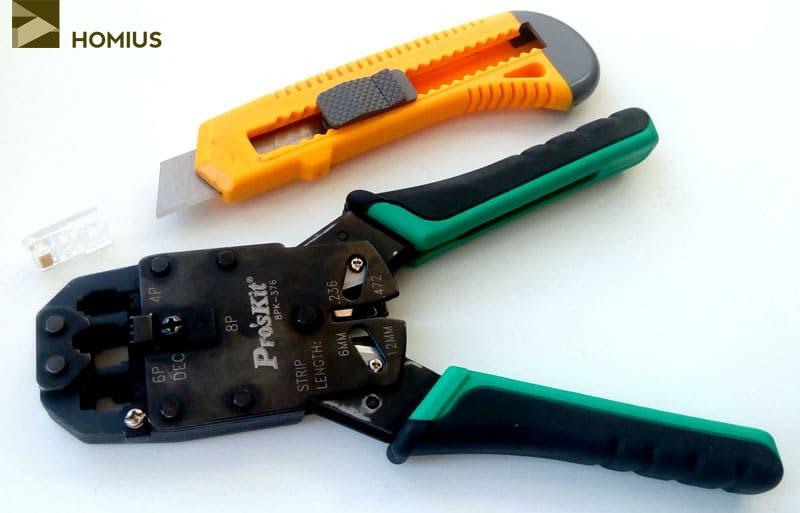 Инструмент для обжима витой пары: обжимные клещи