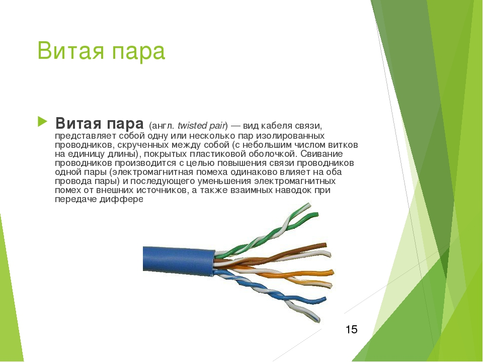 Разновидность витой пары. категории кабеля применяемых в сетях.