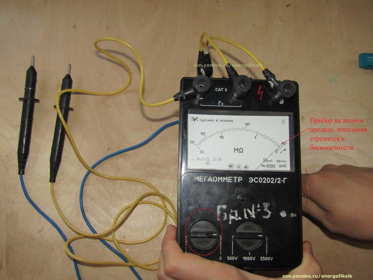 Принцип работы с мегаомметром при измерении сопротивления изоляции