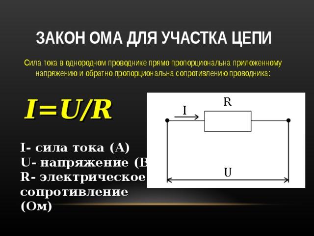 Закон ома для участка цепи – формула и единицы измерения