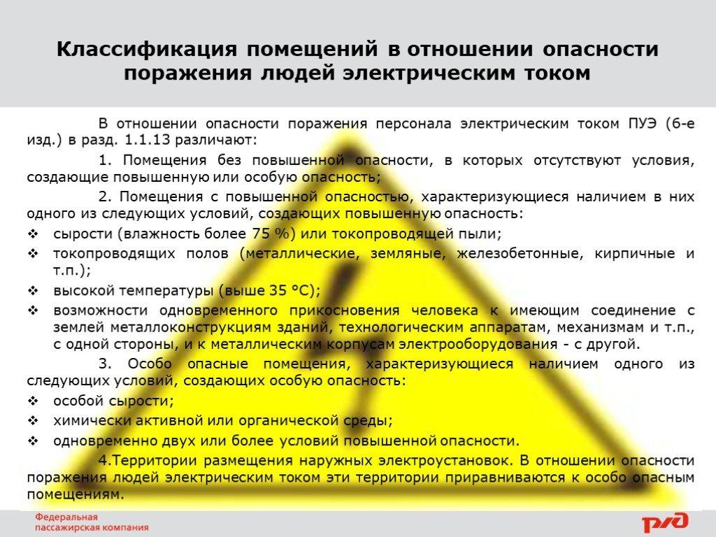 Категории помещений по электробезопасности