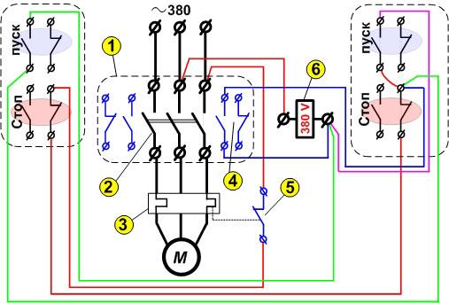 Реверсное подключение электродвигателя через магнитный пускатель