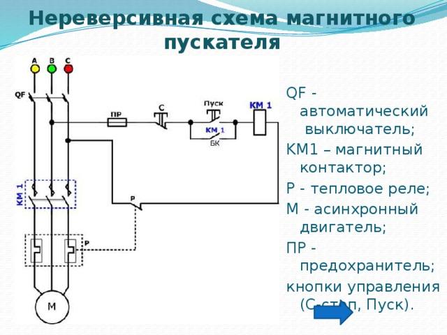 Схема подключения магнитного пускателя