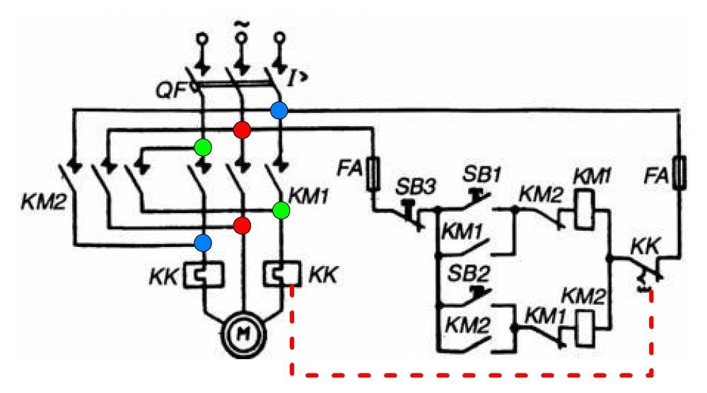 Схема подключения реверсивного пускателя