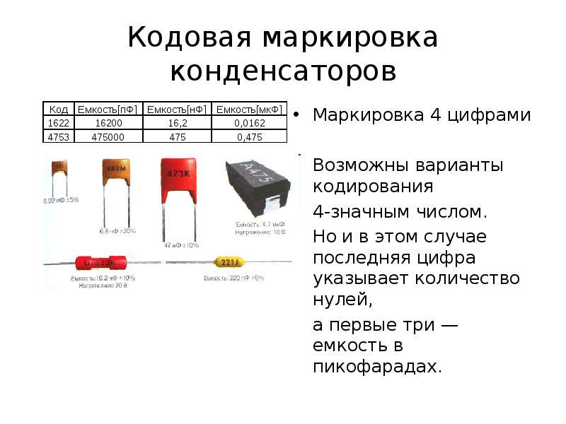 Маркировка конденсаторов 105. кодовая и цифровая маркировка конденсаторов